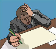 Stressed. Looking overworked business person, or student (sitting exam stock illustration