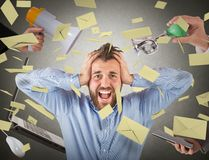 Stressed by advertising Royalty Free Stock Photos