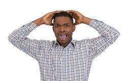 Stressed angry man with hands raised Stock Image