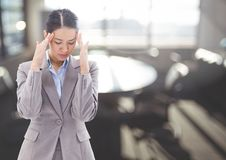 Stressed anxious woman near bright window Stock Photography
