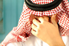 Stressed Arabic man. Sad and cry Stock Images