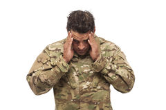 Stressed Army Soldier Royalty Free Stock Photos