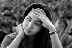 Stressed asia woman. Portrait of stressed asia woman Royalty Free Stock Images