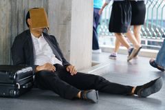 Stressed Asian businessman Royalty Free Stock Photo