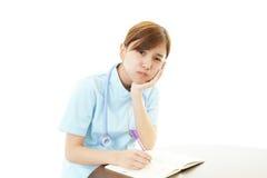 Stressed Asian female nurse Stock Image
