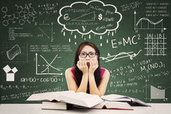 Stressed Asian Female Student royalty free stock photos