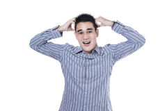 Stressed asian man with a headache Stock Photography