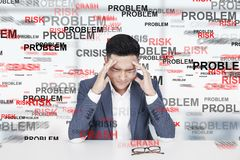 Stressed Asian man, problem Royalty Free Stock Photography