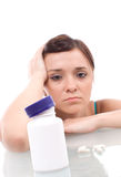 Stressed attractive young brunette Stock Photo