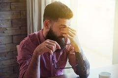 Stressed man making break royalty free stock images