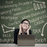 Stressed beautiful woman teacher Stock Images