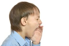 Stressed boy scream Stock Photo
