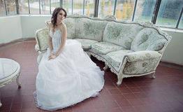 Stressed bride wearing beautiful wedding gown Royalty Free Stock Photo