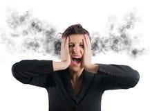 Stressed buinesswoman stock photo