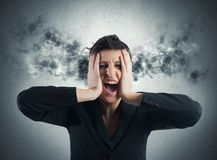 Stressed buinesswoman royalty free stock image