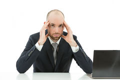 Stressed business man. Caucasian business man stressed at the office. Isolated on white background stock image