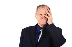 Stressed business man looking at the camera Royalty Free Stock Images