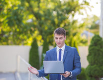 Stressed business man with problems Stock Photo