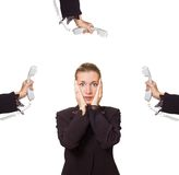 Stressed business woman. Picture of a stressed business woman at work Stock Image