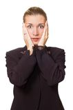 Stressed business woman. Portrait of a stressed business woman Royalty Free Stock Photos