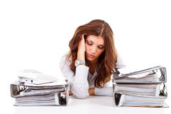 Stressed business woman. Working at her office Royalty Free Stock Photo