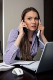 A stressed business woman Stock Images