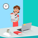 Stressed Business Woman with Documents in Office. Royalty Free Stock Images