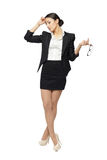 Stressed business woman in full length Royalty Free Stock Photo