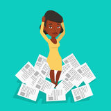Stressed business woman having lots of work to do. Stock Photo