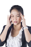 Stressed business woman with a headache Royalty Free Stock Photo