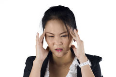 Stressed business woman with a headache isolate Royalty Free Stock Photography