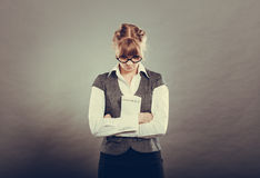 Stressed business woman holding contract in hands Stock Images