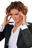Stressed Business Woman Massaging Her Temples Royalty Free Stock Photography