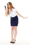 Stressed businesswoman. Stressed  business woman with mobile phone on a white background Royalty Free Stock Photo