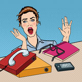 Stressed Business Woman on the Office Work Place with Phone and Papers. Pop Art Stock Images