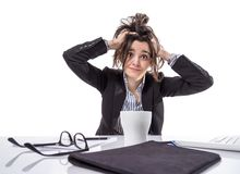 Stressed business woman pulling her hair Stock Image