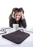 Stressed business woman pulling her hair Royalty Free Stock Photos