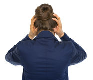 Stressed business woman. rear view Stock Images