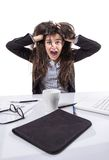 Stressed business woman screaming and pulling hair Royalty Free Stock Photos