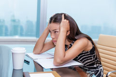 Stressed Business Woman Stressing Of Office Work Stock Photos