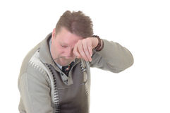 Stressed businessman. Middle aged casual dressed stressed businessman, studio shot Stock Images
