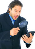 Stressed Businessman Analyzing Numbers royalty free stock image