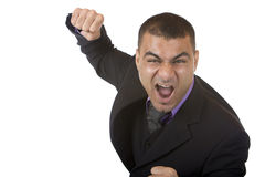 Stressed Businessman is angry and shows fists Stock Image