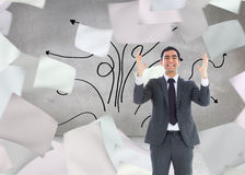 Stressed businessman with arms raised Stock Images