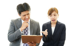 Stressed businessman and businesswoman Royalty Free Stock Photography