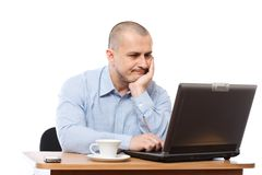 Stressed businessman at computer Stock Images