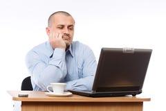 Stressed businessman at computer Stock Photos