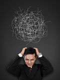 Stressed businessman conceptual portrait royalty free stock images