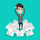 Stressed businessman having lots of work to do. Stock Images