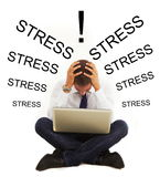 Stressed businessman with headache. Businessman with headache and stress icons royalty free stock photography